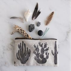 Brooklyn-based French artist Amelie Mancini's Cactus pouch   Remodelista A linen-cotton Cactus Pouch; $38.