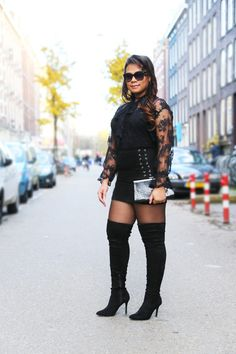 www.streetstylecity.blogspot.com Fashion inspired by the people in the street ootd look outfit sexy legs heels girl miniskirt pantyhose leather otk boots black-over-the-knee-boots-street-style-street-chic-lace-blouse-street-style