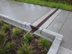 Channel drain across walkway garage side downspout Driveway Drain, Driveway Landscaping, Walkway, Drainage Grates, Backyard Drainage, Drainage Solutions, Drainage Ideas, Water Management, Fish Ponds