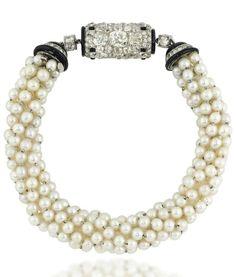 ©️️ Christies Art Deco Pearl, Enamel And Diamond Bracelet Watch, By Cartier Cartier Jewelry, Pearl Jewelry, Antique Jewelry, Vintage Jewelry, Pearl Necklace, Art Deco Jewelry, Modern Jewelry, Fine Jewelry, Diamond Bracelets