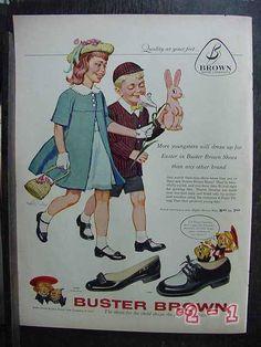 We got Buster Brown shoes for Easter, Summer and Winter. Vintage Ephemera, Vintage Ads, Vintage Prints, Bobby Socks, Vintage Restaurant, Old Advertisements, Childhood Days, I Remember When, Vintage Easter