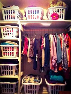 Make use of some laundry baskets to organize your closet.