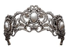 Tiara of Archduchess Marie Valerie of Austria ca. 1913.  I like pearls and they are suitable in terms of value, but I don't think they belong in a tiara.