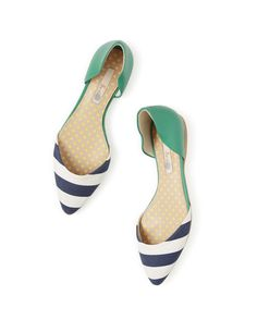 "Stripe a pose (now 20%) #Boden #SS15 - Elizabeth - CUTE shoes, but i already have a AGL ballet flat in a sparkly navy leather on back with navy ""snake skin"" over the toe and with slier belt separating the two and a pair of green sling back flats…so instead I ordered these in black - suede heel and patent front, I think"