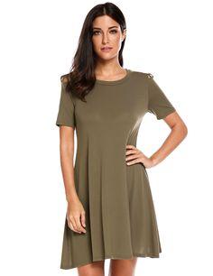 Purple Short Sleeve Cut Out Shoulder A-Line Casual Dress