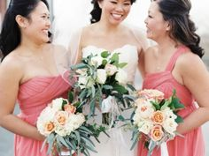 Loving the color scheme. Bright coral brightened up the day perfectly. http://www.weddingshoesblog.com/a-little-bit-of-southern-and-a-little-bit-of-glam-go-a-long-way/ #wedding #bridesmaiddress