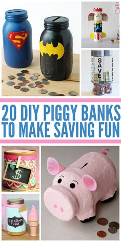 20 Fun DIY Piggy Banks 20 Fun DIY Piggy Banks<br> My kids love their piggy banks. Here are a bunch of super cool ways to make a DIY piggy bank all by yourself. These are so much fun! Cool Diy, Fun Diy, Homemade Piggy Banks, Diy Crafts For Kids, Projects For Kids, Craft Projects, Piggy Bank Craft, Crafts From Recycled Materials, Savings Jar