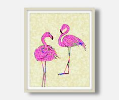 Flamingo Decor, Pink Flamingos, Bird Prints, Flower Prints, Flower Frame, Flower Art, Dried Rose Petals, Floral Wall Art, Butterfly Art
