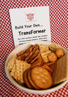 """Transformers Party - """"build your own transformer"""" game out of shaped crackers"""