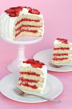 Strawberry shortcake cake    @Brooke Is Far Out Betterley - remember mom's strawberries, that have sat in sugar?  That with a little whipped cream instead of the filling in the recipe, and maybe use angel food cake?  Then use this for everyone instead of individual cupcakes....