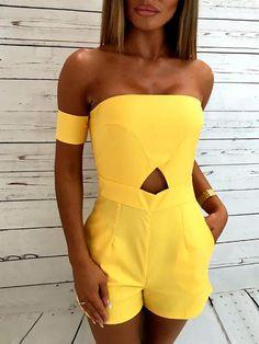 Fashion Off Shoulder High Waist Cutout Slinky Romper