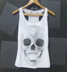 Skull tank top, skeleton shirt, gothic skull White  women shirt, teen girls clothing size XS singlet crop top shirt blouse on Etsy, $12.00