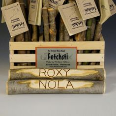 These are not just sticks, they're *personalized* sticks for dogs - very original.