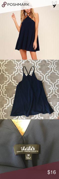 "Navy High Neck Flowy Navy Dress Super cute light and flowy Navy dress! Never worn, too short for me (5'6""). Lulu's Dresses Mini"