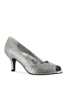 Easy Street Silver Glitter Ravish Peep Toe Evening Shoe