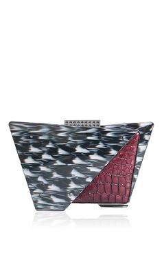 f8cddb2330f4 Ikat Lucite   Embossed Calf leather Kitty Kat Clutch by Tonya Hawkes