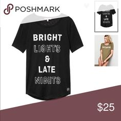 "VS Perfect Crew New in packaging. Anytime tees perfect crew. ""Bright lights & late nights"" graphic. S-L Victoria's Secret Tops Tees - Short Sleeve"