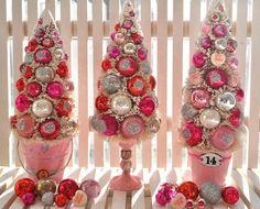 Dear Valentine Pink Bottle Brush Tree pink hearts by RuinBibber