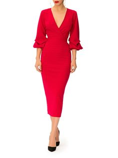 Perfect red dress with sleeve detail.
