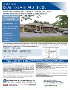 Online Only Auction! Minimum Bid $45,000 for Units 13 and 14. Two units selling as one featuring 2100+/- SF of office space with one bath. Layout set up as a single unit but can be converted back to two 1050+/- SF offices. Very affordable space for a service based business. Excellent investment opportunity! View more details online. Pamela Rose Auction Company, LLC.