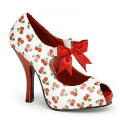 White Cherry Peeptoe pumps by Pinup Couture