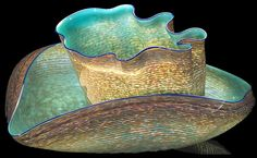 Dale Chihuly - Artist - TURQUOISE MACCHIA PAIR WITH COBALT LIP WRAPS, 1984