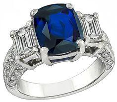 Cushion Cut Ceylon Sapphire Emerald and Round Cut Diamond Platinum Engagement Ring