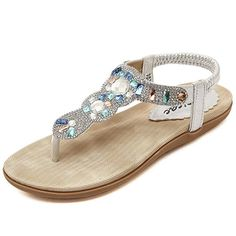 Zicac Women's Round Peep Clip Toe Rhinestone Elastic T-Strap Bohemia Roman Sandals Summer Beach Post Sandals Flip Flops Flat Shoes Thongs: Amazon.co.uk: Shoes & Bags