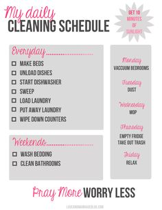 My Daily Cleaning Schedule {a free printable}. Need to hang this as a reminder for the kids.