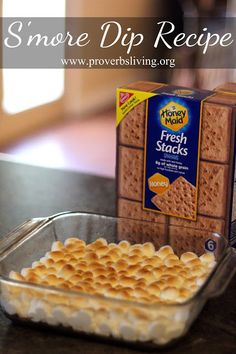 S'more Dip Recipe: 1 c choc chips, 2 T milk, 1 c mini marshmallows - melted in the bottom of a saucepan - mini marshmallows on top  broiled at 500* for 5 min - dip w/ graham crackers
