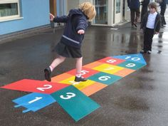Hopscotch with a twist Preschool Playground, Playground Games, Outdoor Playground, Playground Flooring, Outdoor Classroom, Classroom Decor, Swing Sets For Sale, Playground Painting, School Murals