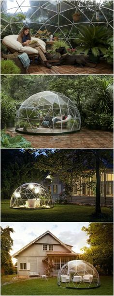 "The Garden Igloo Is an Elegant Backyard Getaway - If you are looking for a backyard ""shed"" which isn't a shed at all, and don't mind a lack of privacy, you might be intrigued by the ""Garden Igloo."" This little geodesic dome is made entirely out of 100% recyclable PVC and PA6 materials which will not corrode."