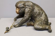 Charming Antique Japanese Bronze of a Monkey Playing with a Snail, signed 7