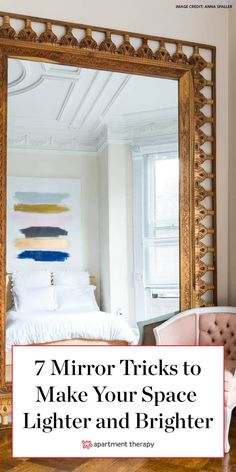 Everyone knows a mirror makes a room appear bigger than it really is, but when it comes to actually hanging one in your home, it can be tough to make the right mounting moves. #mirror #homedecor #smallspace