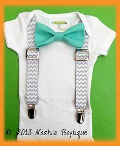 Baby Boy Clothing - Mint Bow Tie Grey Chevron Suspenders - Suspenders & Bow Tie Bodysuit - Baby Tuxedo - Spring Wedding Baby - Trendy Baby by Noahs Boytique, $19.00