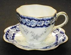 Antique Coalport England Dalemere Twirl Demi Tea Cup and Saucer