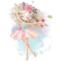 Cute ballerina, ballet girl with flowers, floral wreath - Buy this stock illustration and explore similar illustrations at Adobe Stock Cute Animal Drawings, Cute Drawings, Love Wall Art, Wall Art Prints, Baby Girl Clipart, Kids Graphics, Dancing Dolls, Baby Posters, Girl Background