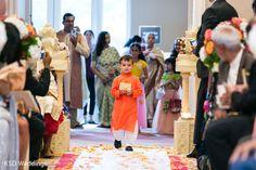 Cutest ring bearer boy entering the ceremony. http://www.maharaniweddings.com/gallery/photo/122971