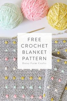 More Than 40 Free Crochet Blanket Pattern - Candy Dots Baby Blanket patrón de manta de ganchillo gratis - manta para bebé candy dots kostenlose häkeldecke muster - candy dots babydecke schema coperta uncinetto gratuito - candy dots baby blanket Crochet Afghans, Crochet Blanket Patterns, Baby Blanket Crochet, Easy Crochet, Crochet Baby, Knitting Patterns, Knit Crochet, Booties Crochet, Crochet Blankets