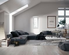 <3 LIVING ROOM - Spacious and Bright Living Room with beautiful grey Couch