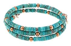 Sterling Silver and Copper Turquoise Wrap Bracelet.