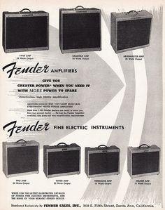 1956 FENDER GUITAR AMPS Music Advertisement Bassman by phorgotten