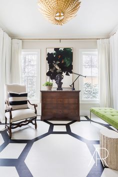 Get graphic with a contrasting, geometric painted floor.