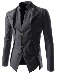 (NJK7-CHARCOAL) Slim fit Double Collar 2 Button Blazer Jacket