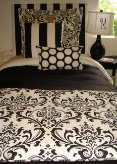 Black and White Damask Dorm Designer Bedding Set | Dorm Bedding
