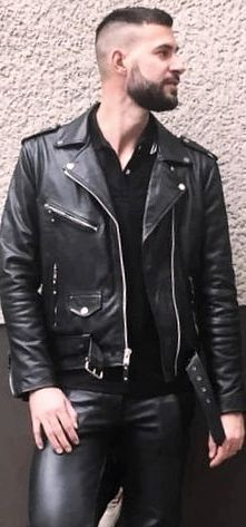 Biker Jackets, Leather Jackets, Leather Jeans, Black Leather, High And Tight, Bear Men, Hair And Beard Styles, Clothing Items, Men's Fashion