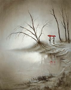 Walk With Me by Bob Barker.  Bob Barker's familiar duo of red umbrellas has become the soft-hearted artist's shorthand for romance – and the lucky buyers of this image will get double the value as they're reflected in the milky moonlit water that this loving couple walk beside.