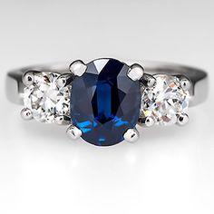 Three+Stone+Sapphire+Engagement+Ring+w/+Old+Euro+Diamond+Accents+Platinum