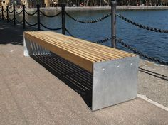 Elements 2.4m bench with small side to side timber slats and galvanised plate ends (ELES112P7070-BENCKNG)
