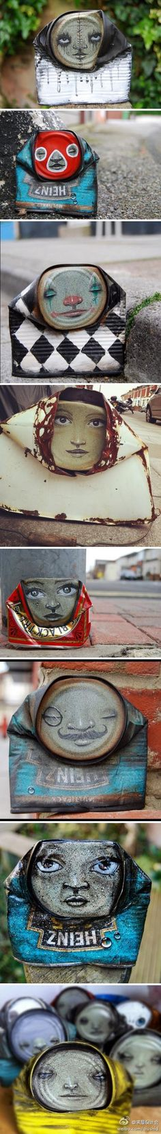 artist My Dog Sighs creates painted faces on found crushed cans, which he then leaves on the streets in random places for passers-by to take home. It is both an art installation project and an altruistic gesture dedicated to the cause of free art for everyone.